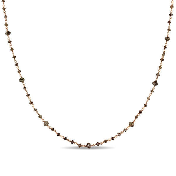 Miadora 14k Rose Gold 15ct TDW Chocolate Brown Diamond Bead Station Necklace