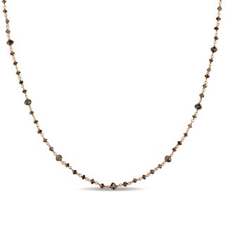Miadora Signature Collection 14k Rose Gold 15ct TDW Chocolate Brown Diamond Bead Station Necklace