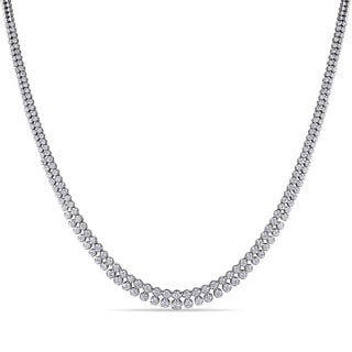 Miadora 18k White Gold 4ct TDW Diamond Two Row Tennis Necklace (G-H, SI1-SI2)