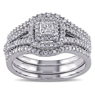 Miadora Sterling Silver 1/2ct TDW Diamond Bridal Three Ring Set (H-I, I2-I3)