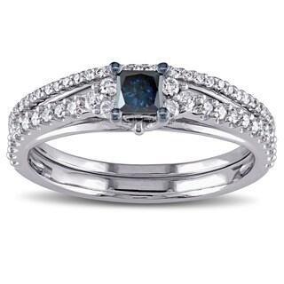 Miadora 10k White Gold 3/5ct TDW Princess-cut Blue and White Diamond Bridal Ring Set