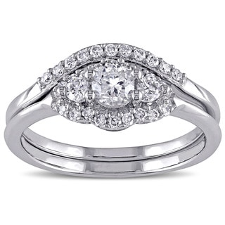 Miadora Signature Collection 14k White Gold 3/5ct TDW IGL Certified Diamond Bridal Ring Set (G-H, I1-I2)