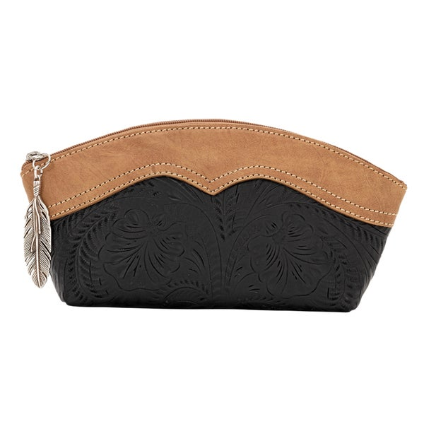 American West Birds of a Feather Black Leather Cosmetic Bag