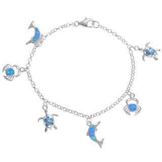 Journee Collection Sterling Silver Blue Opal Sea Creature Charm Bracelet