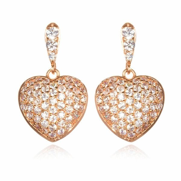 Rose Gold White Cubic Zirconia Heart-shape Drop Earrings