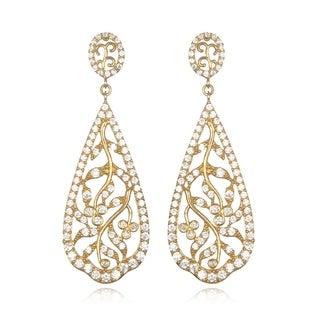 14k Gold over Silver Cubic Zirconia Vine Design Dangle Teardrop Earrings