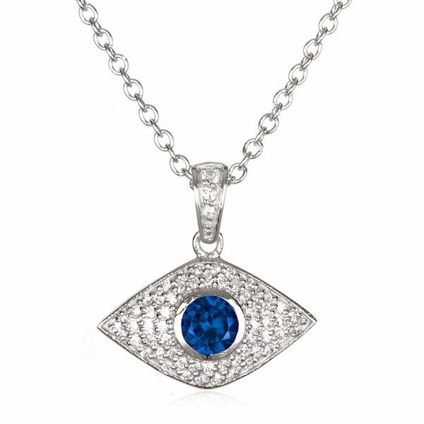 Sterling Silver Bezel-set Created Sapphire Evil Eye Necklace 15550027
