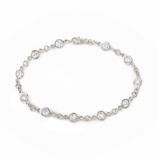 Sterling Silver White Cubic Zirconia Chain Bracelet