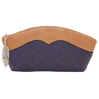American West Birds of a Feather Distressed Indigo Leather Cosmetic Bag