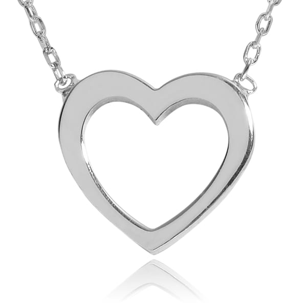 Journee Collection Sterling Silver Cut Out Heart Pendant