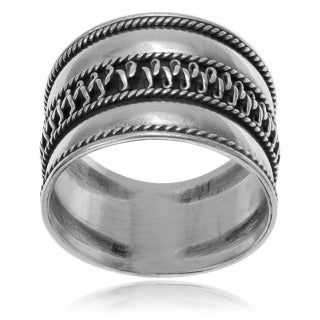 Journee Collection Sterling Silver Bali Design Ring
