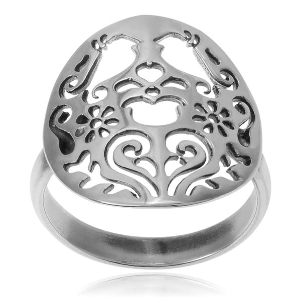 Sterling Silver Bird and Flower Statement Ring