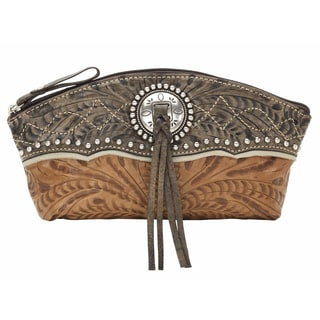 American West 8315394 Heart of Gold Distressed Charcoal Leather Accessory Case