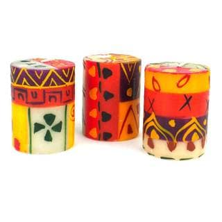 Set of Three Boxed Hand Painted Candles - Indaeuko Design (South Africa)