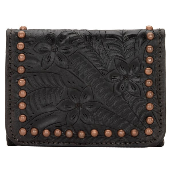 American West Women's Shane Black Leather Tri-fold Wallet