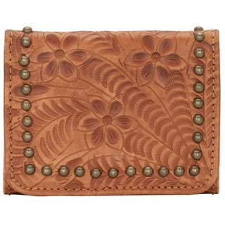 American West Women's Shane Tan Leather Tri-fold Wallet