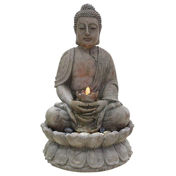 Brown Buddha Water Feature with LED Lights 15550553
