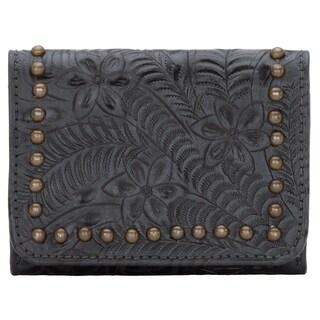 American West Women's Shane Steel Blue Leather Tri-fold Wallet