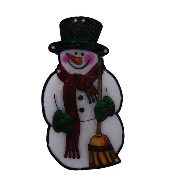 Multi 10-inch Snowman with Broom Indoor Hanging Decor