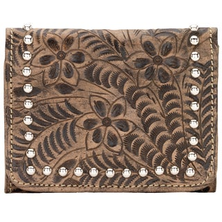 American West Women's Shane Charcoal/ Brown Leather Tri-fold Wallet