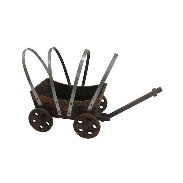 Brown 23-inch Wooden Wagon Planter