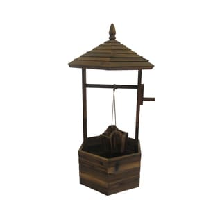 Brown 45-inch Wooden Wishing Well Planter