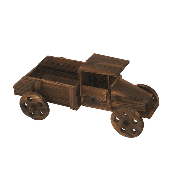 Brown 11-inch Wooden Truck Planter