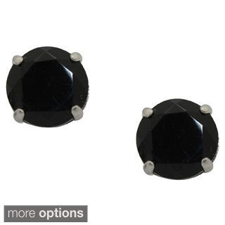 Gioelli Sterling Silver 8mm Basket-set Gemstone Earrings