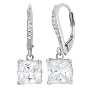 Gioelli Sterling Silver Cushion Leverback Dangle Earrings
