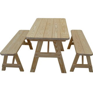 Traditional Straight Leg Pine Picnic Table Set
