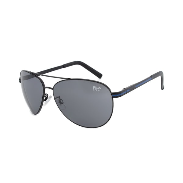 Fila F2022 002 Matte Black with Blue Stripe Aviators