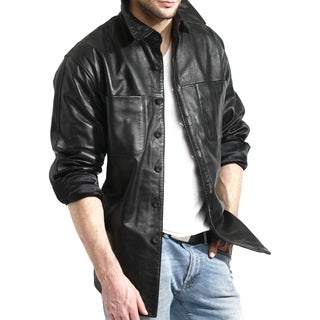Men's Black Leather Shirt Jacket