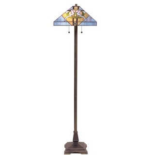 Tiffany Style Stained Glass Blue Dove Floor Lamp