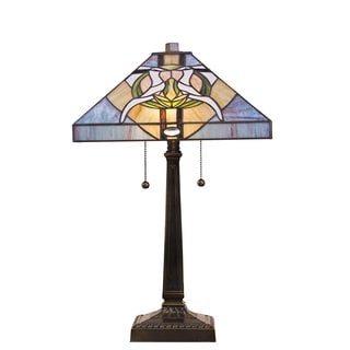 Tiffany Style Stained Glass Blue Dove Table Lamp