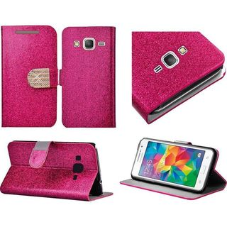 Insten Leather Wallet Flap Pouch Glitter Phone Case Cover with Stand/ Diamond For Samsung Galaxy Grand Prime