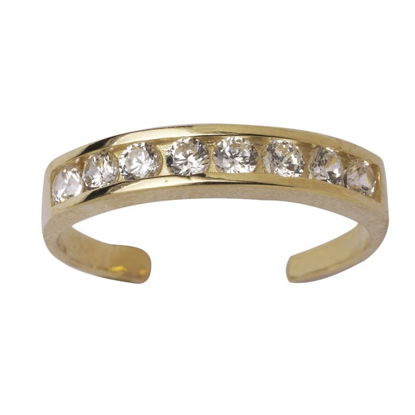 14k Gold Channel-set Round Cubic Zirconia Adjustable Toe Ring