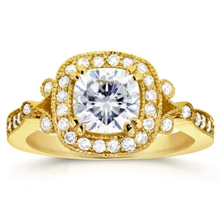 Annello 14k Yellow Gold Cushion-cut Moissanite and 3/8ct TDW Diamond Antique Halo Engagement Ring (G-H, I1-I2)