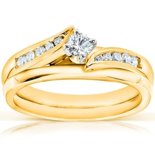 Annello 14k Yellow Gold 1/4ct TDW Diamond Bridal Ring Set (G-H, I1-I2)