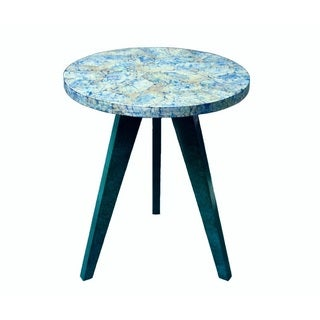 Blue Mother of Pearl Shell End Table Decorative Accent (Philippines)