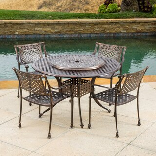 Christopher Knight Home Outdoor Sebastian Cast Aluminum 5-piece Dining Set with Lazy Susan