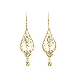 18k Yellow Gold 3 1/4ct TDW Diamond Paisley-style Drop Earrings (G-H, SI1-SI2)