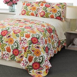 Bright Floral 100-percent Cotton 3-piece Quilt Set