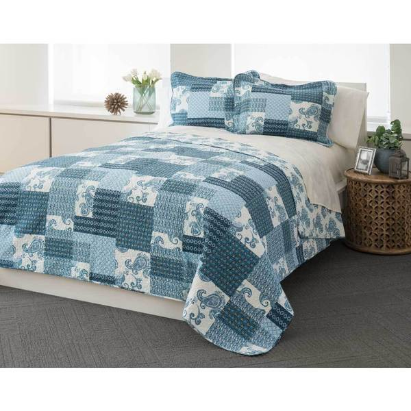 Indigo Patchwork 100-percent Cotton 3-piece Quilt Set
