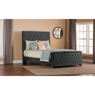 Hillsdale Furniture's Kaylie California King Pewter Upholsterd Bed Set with Storage Footboard