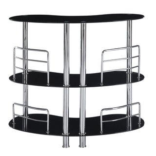 Contemporary Bar Table with Black Surfaces and Metal Accents