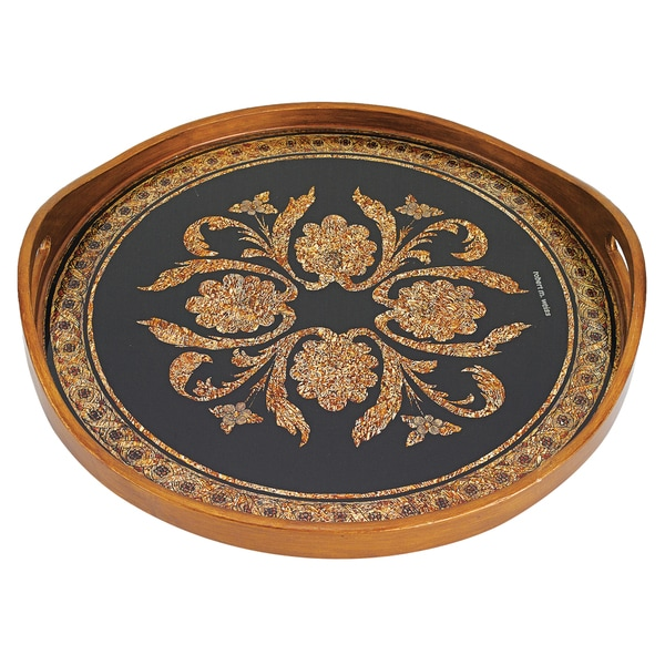 Classical Black Reverse Painting on Glass Round 18-inch Tray
