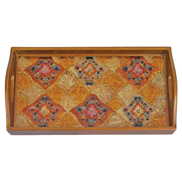 Gemstone Wheat Reverse Painting on 18-inch x 12-inch Glass Rectangle Tray