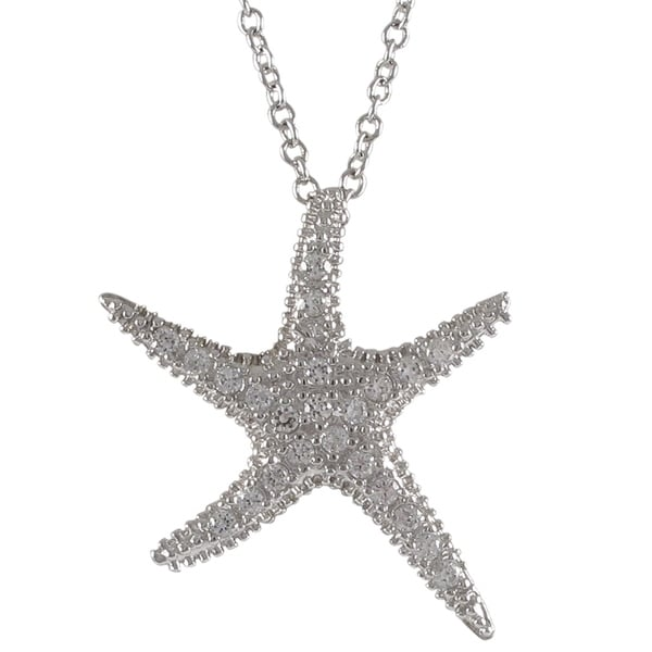 Sterling Silver Cubic Zirconia Sea Star Fish Pendant Necklace