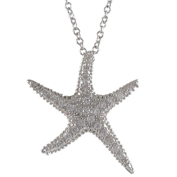Sterling Silver Cubic Zirconia Sea Star Fish Pendant Necklace