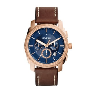 Fossil Men's FS5073 Machine Chronograph Leather Watch Light Brown